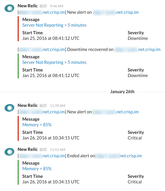 New Relic alerts on our Slack. Be relax, this server is alive.